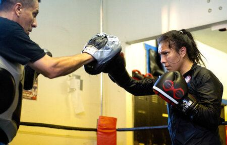 Jajaira Gonzalez training with her father Jose Gonzalez.