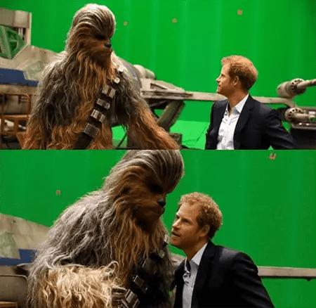 Joonas in Wookie uniform with Prince Harry.