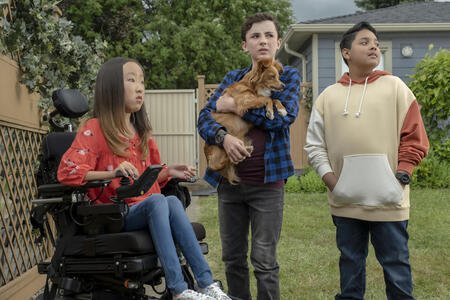 Jace Chapman, Sophie Jaewon Kim, and Mauricia Lara as Noah Ferris, Amara, and Simon, respectively, in The Healing Powers of Dude.