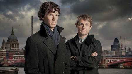 Benedict Cumberbatch and Martin Freeman as Sherlock Holmes and Dr. John Watson, respectively.