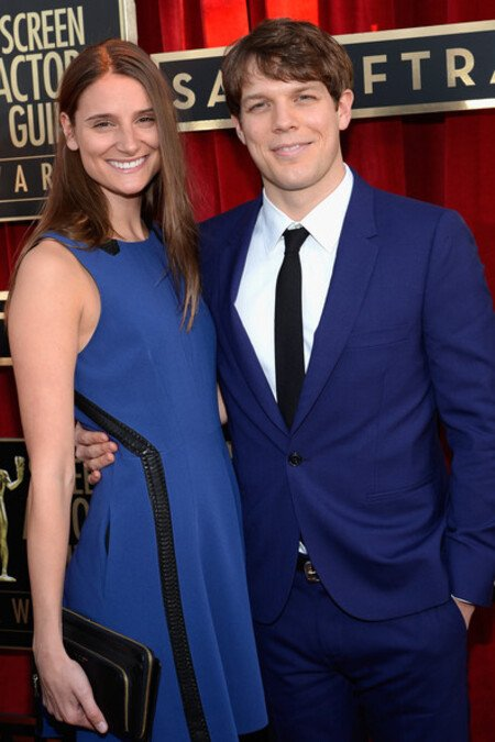 Jake Lacy with his wife Lauren Deleo on the Red Carpet of 19th Annual Screen Actors Guild Awards.