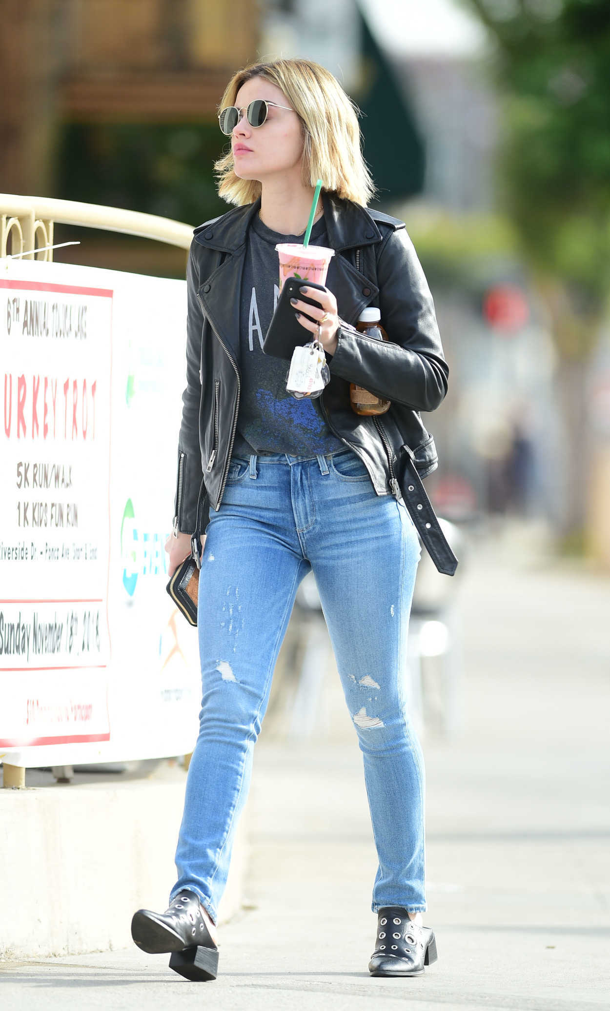 Lucy Hale In A Blue Ripped Jeans Was Seen Out In Los