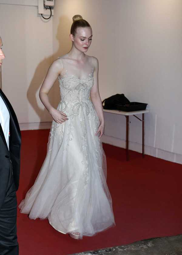 Elle Fanning in a Beige Dress Was Seen During the 72nd ...