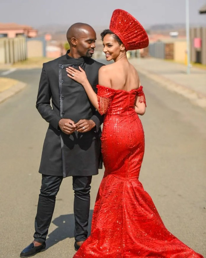 Former Miss SA Liesl Laurie and Dr Musa Mthombeni tie the knot