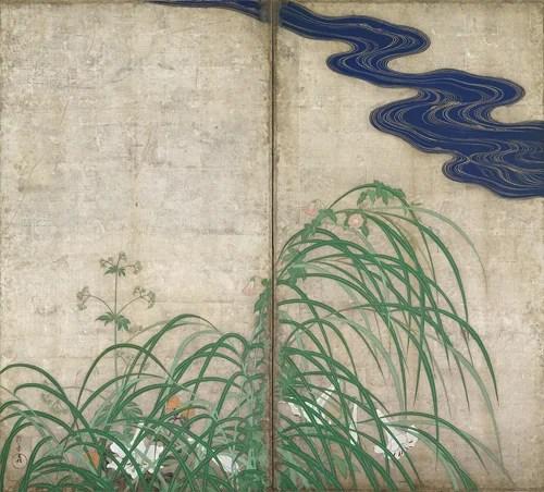 夏秋草図屏風・風神雷神図屏風(右) 酒井抱一筆・尾形光琳筆 江戸時代・18~19世紀 東京国立博物館蔵 ※本展覧会では複製を展示