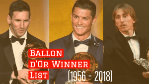 Ballon d'Or Winner List (1956 – 2018)