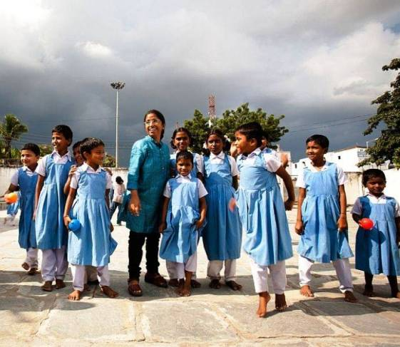 Sunitha Krishnan with the children of her school