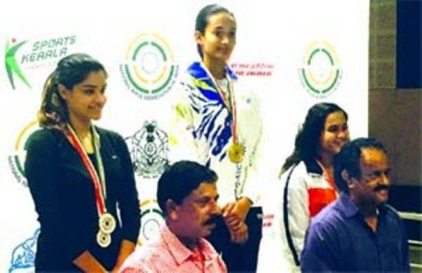 Chinki Yadav after winning gold at the 61st National Shooting Championship, which was held in Thiruvananthapuram, Kerala