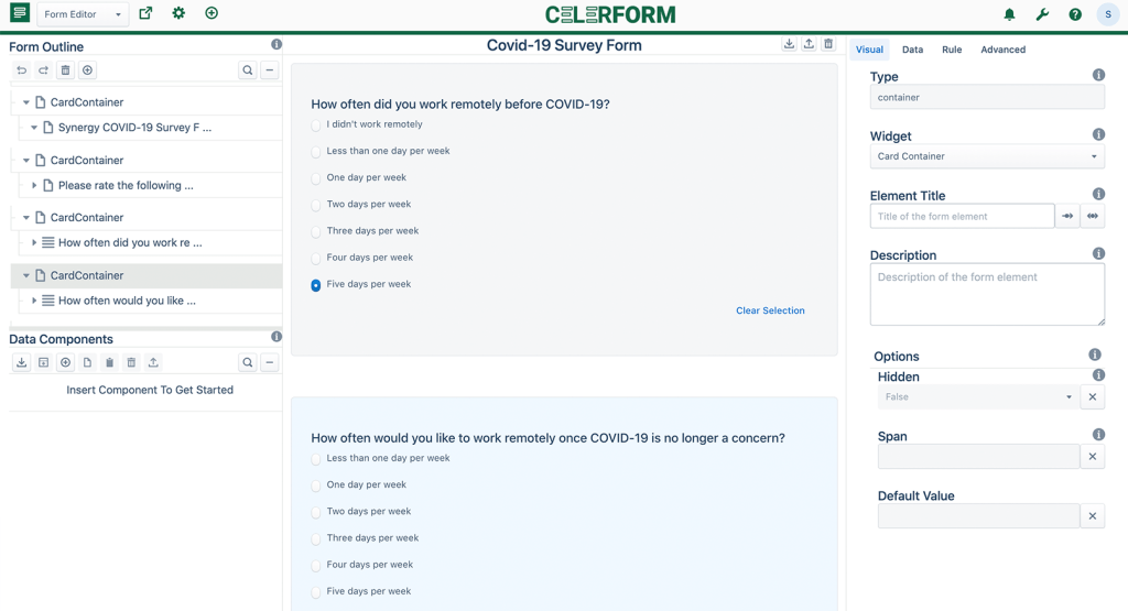 Feature 3: Architecture -Screenshot of the Celerform Designer. A survey-style form is being built to gather data.