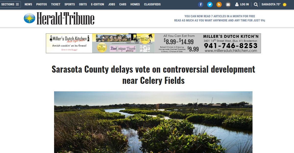 Herald Tribune: Sarasota County delays vote on controversial development near Celery Fields