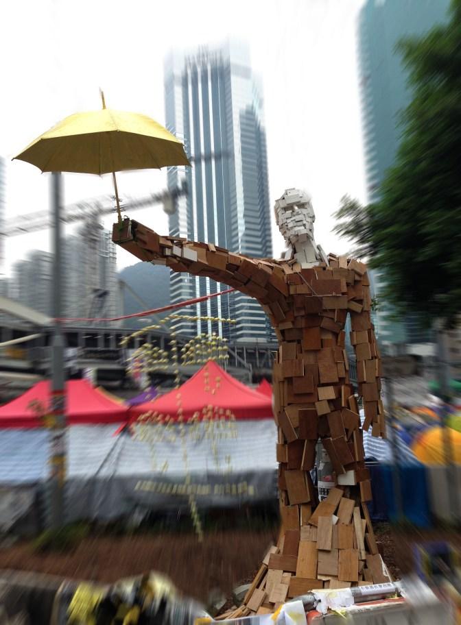Umbrella man sculpture