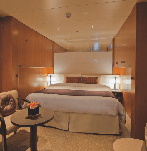 """$1019.00 per person IA Interior Staterooms are located on deck 4. They have a floor area of 16.6sqm and can accommodate up to 4 person(s), with 2 lower beds, 3rd/4th berth. Inside this stateroom there is a bathroom with a shower, air conditioning, a 40"""" flat-screen HD satellite television, telephone, chilled minibar, hairdryer, safety deposit box and 24/7 room service menu always available."""