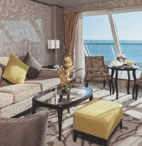 """$2099.00 per person Grand Suites are located on deck 11 and 12. They have a floor area of 72-74sqm (including terrace of 17-18.5sqm) and can accommodate up to 4 persons, with 2 lower beds, 3rd/4th berth. Inside the suite there are large sliding glass doors leading out to a sea-view terrace, bathroom with a shower and jacuzzi bathtub, air conditioning, a 40"""" flat-screen HD satellite television, telephone, chilled minibar, hairdryer, safety deposit box and 24/7 room service menu always available. This category has access to the Celestyal Cruises Suite Concierge service, which, among a number of exclusive services offered in the suite, features a dedicated priority check-in counter, expedited embarkation, a dedicated dining area onboard, and express luggage delivery service including assistance with unpacking. Celestyal Cruises Suite Concierge will always be available to assist guests with specific tailored service requests. This category has complimentary unlimited access to the new, exclusive Beach Club concept."""