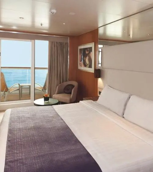 """$1629.00 per person SJB Junior Suites are located on deck 10,11 and 12. They have a floor area of 24-25sqm (including balcony of 4-5sqm) and accommodate up to 4 person(s), with 2 lower beds, 3rd/4th berth. Inside this junior suite there is large sliding glass doors leading out to a seaview balcony, bathroom with a shower, air conditioning, a 40"""" flat-screen HD satellite television, telephone, chilled minibar, hairdryer, safety deposit box and 24/7 room service menu always available."""