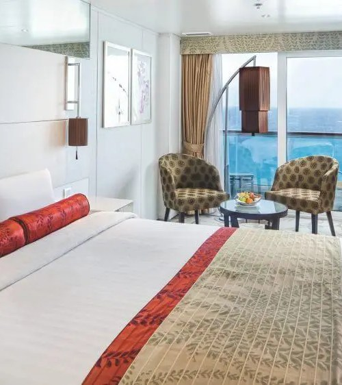 """$1849.00 per person WSJ Wellness Junior Suites are located on deck 14. They have a floor area of 23.5sqm (including balcony of 4sqm) and accommodate up to 4 persons, with 2 lower beds, 3rd/4th berth. Inside this junior suite there are large sliding glass doors leading out to a sea view balcony, bathroom with a shower, air conditioning, a 40"""" flat-screen HD satellite television, telephone, chilled minibar, hairdryer, safety deposit box and 24/7 room service menu always available. Wellness Suites guests also have complimentary and unlimited access to the wellness center and spa area featuring relaxation options, most notably the thalassotherapy baths and thermal suites. The Wellness junior suites also include complimentary unlimited access to the new, exclusive Beach Club concept."""