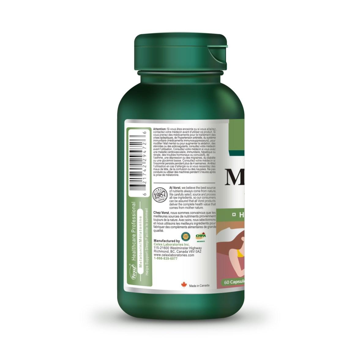 Melatonin 10mg vitamin b12 60 capsules bottle description