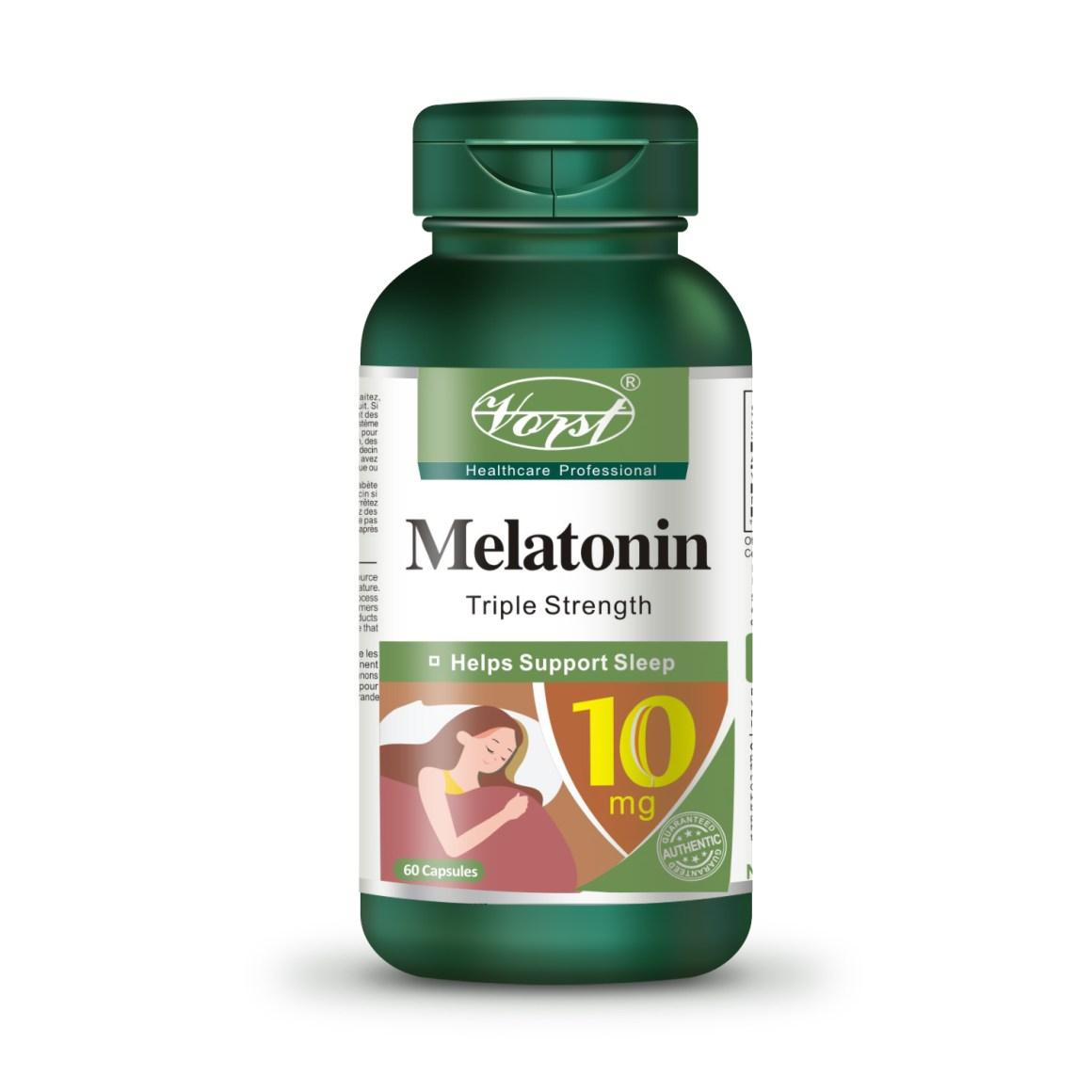 Melatonin 10mg vitamin b12 60 capsules front bottle