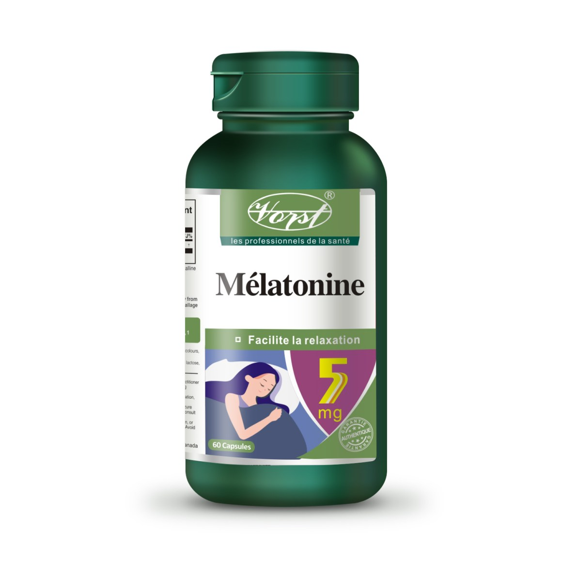 Melatonin 5mg 60 capsules front bottle french