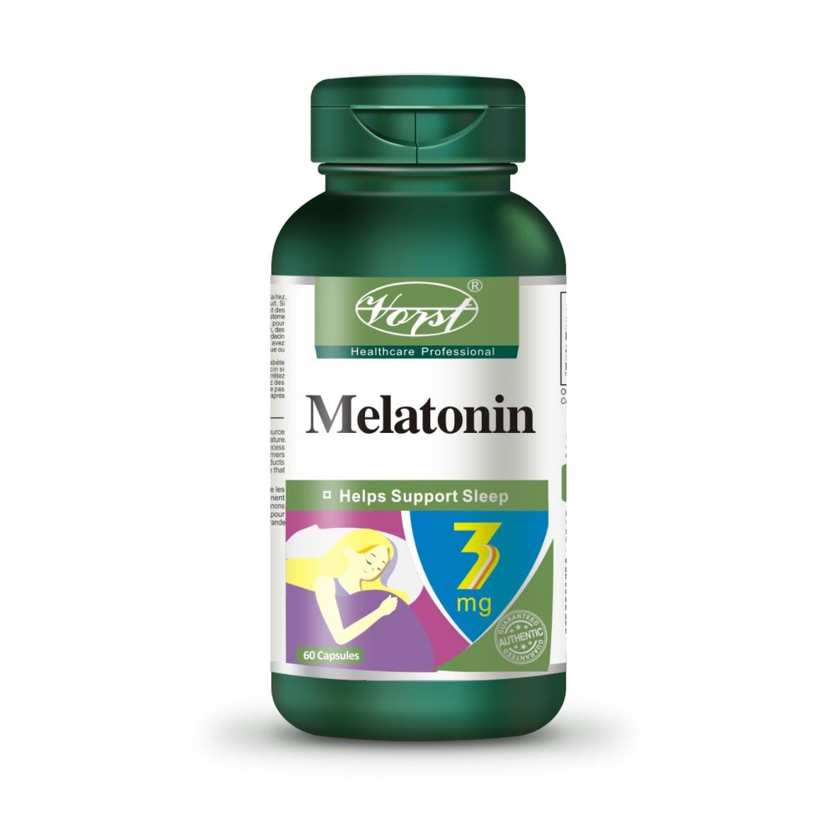 Vorst melatonin 3mg 60 capsules bottle front