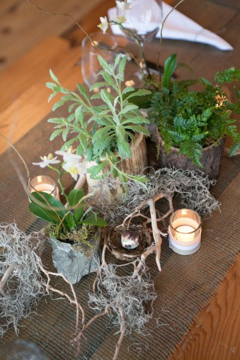 tablescape with ferns and lavender.