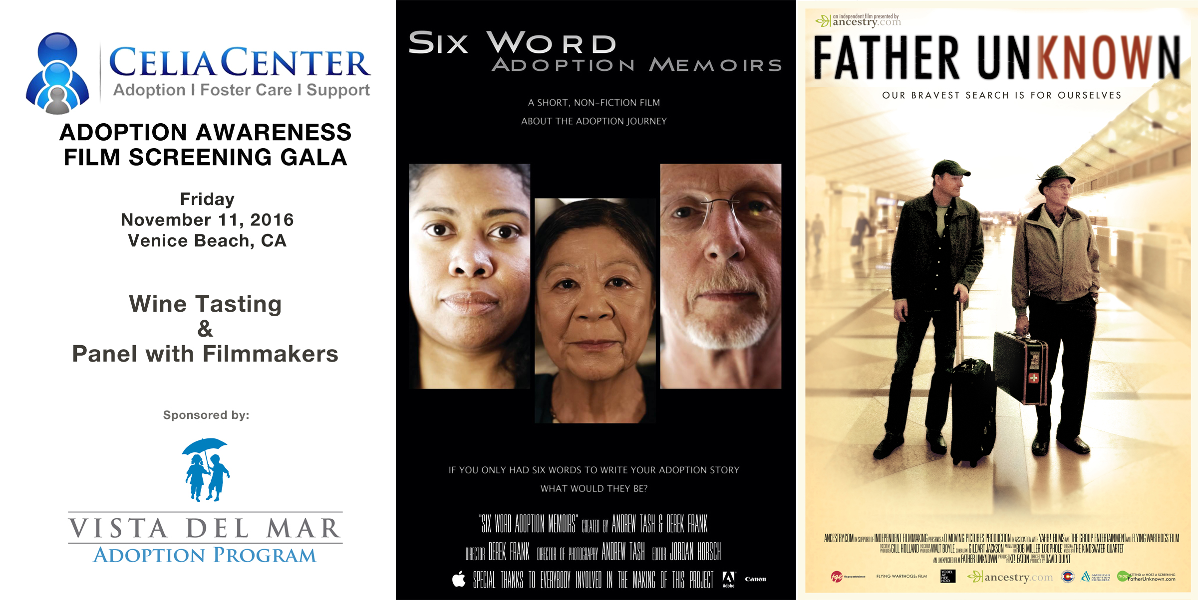 three-part poster for film screening of Father Unknown
