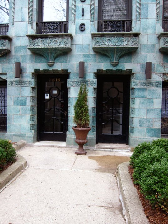 A welcome difference (entrance to a blue stone apartment building, Chicago), © 2013 Celia Her City
