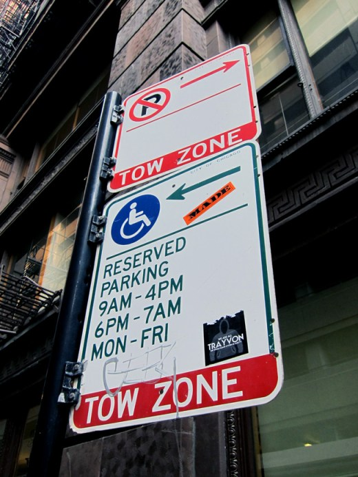 A Chicago no-parking sign, © 2013 Celia Her City