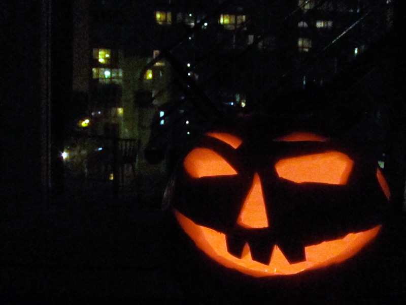 Restless spirits surround our jack-o-lantern on Halloween night