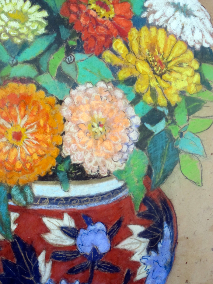 Detail from a pastel by Helen Olney of zinnias in a Chinese porcelain vase.