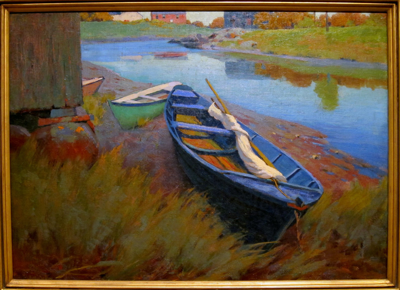 Arthur Wesley Dow oil painting of a blue boat in the grass.