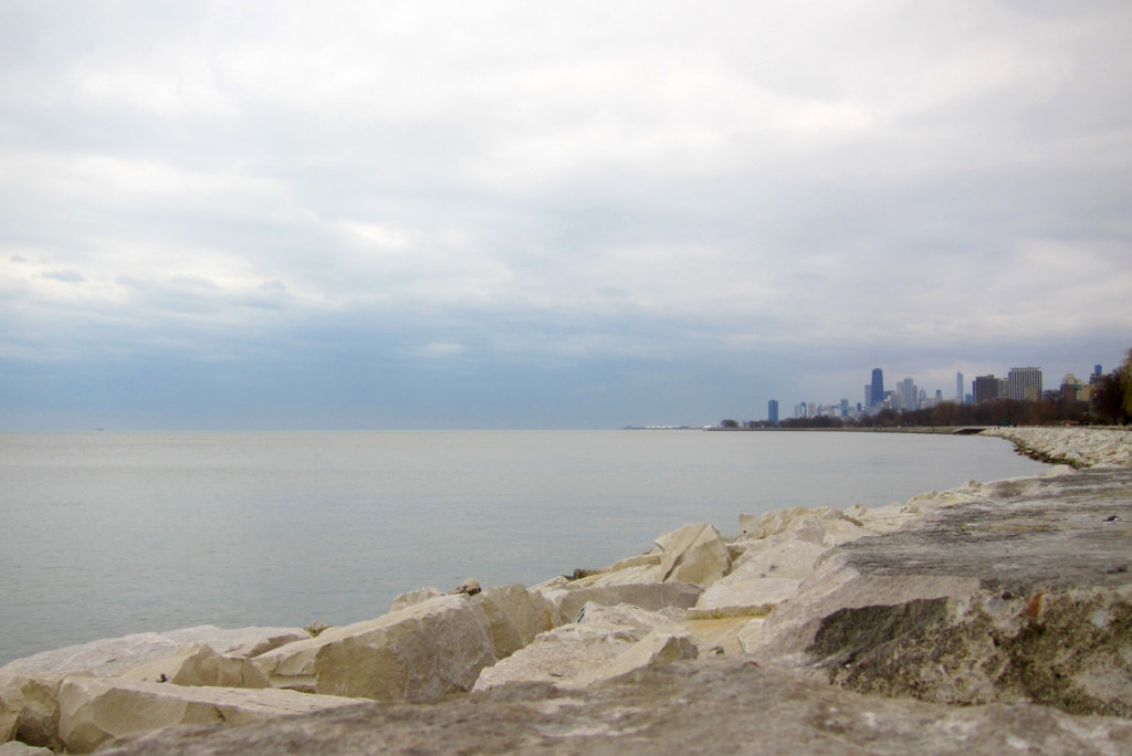 Lake Michigan, the Chicago skyline, and the sea wall along the golf course trail.