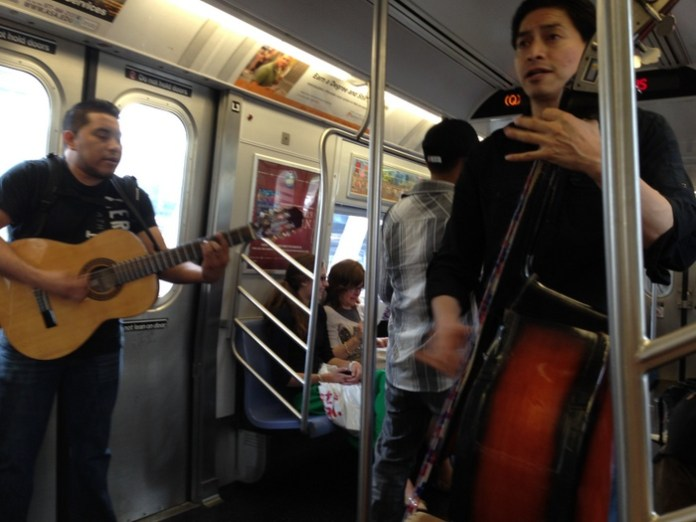Buskers on the Q train