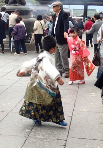 Enjoying wearing his kimono