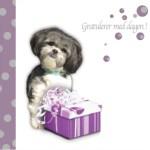 Bursdagskort til dugnad. Dugnadskort med nydelig hund