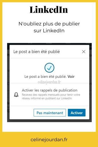 rappel publication sur LinkedIn