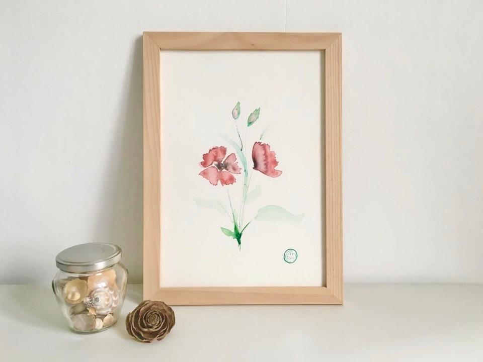 Aquarelle fleurs coquelicot