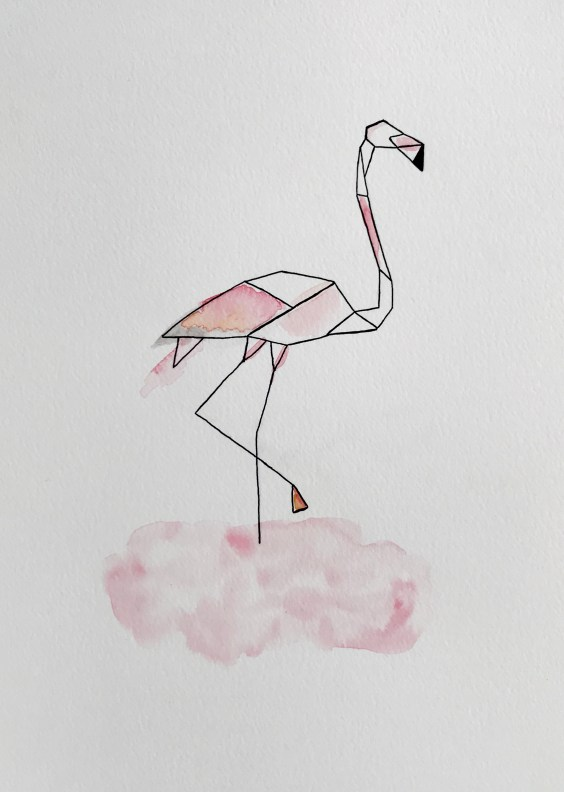 aquarelle encre de chine illustration  oiseau flamand rose