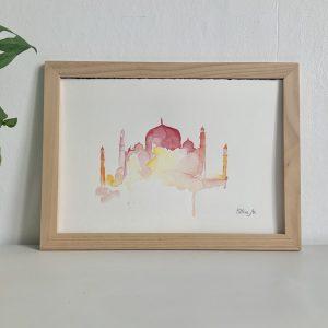 Affiche aquarelle palais Taj mahal
