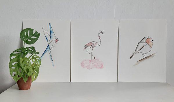 3 affiches aquarelle encre de chine oiseaux