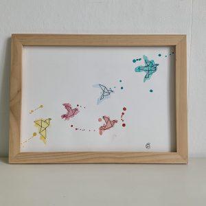 Affiche aquarelle illustration envolée oiseaux origami