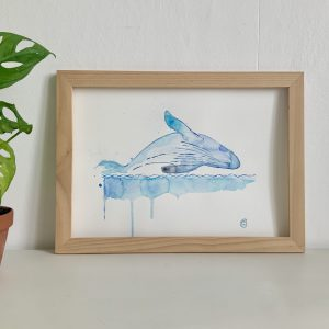 Affiche aquarelle illustration plongeon baleine