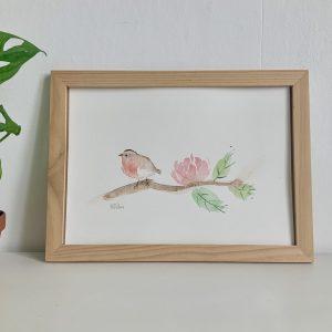Affiche illustration aquarelle rouge gorge sur branche