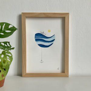Affiche illustration aquarelle vagues et petit bateau