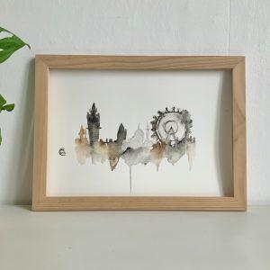 Affiche aquarelle à encadrer, skyline londres