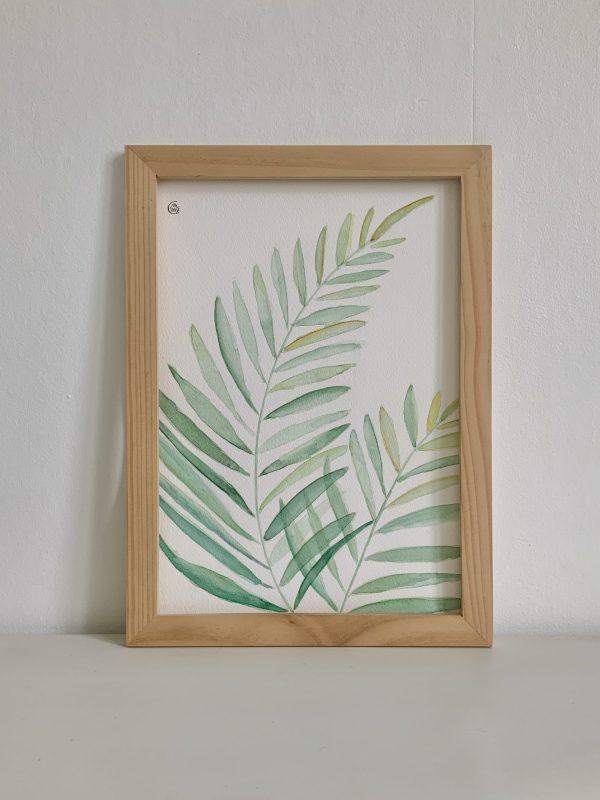 Affiche aquarelle feuilles de palmier