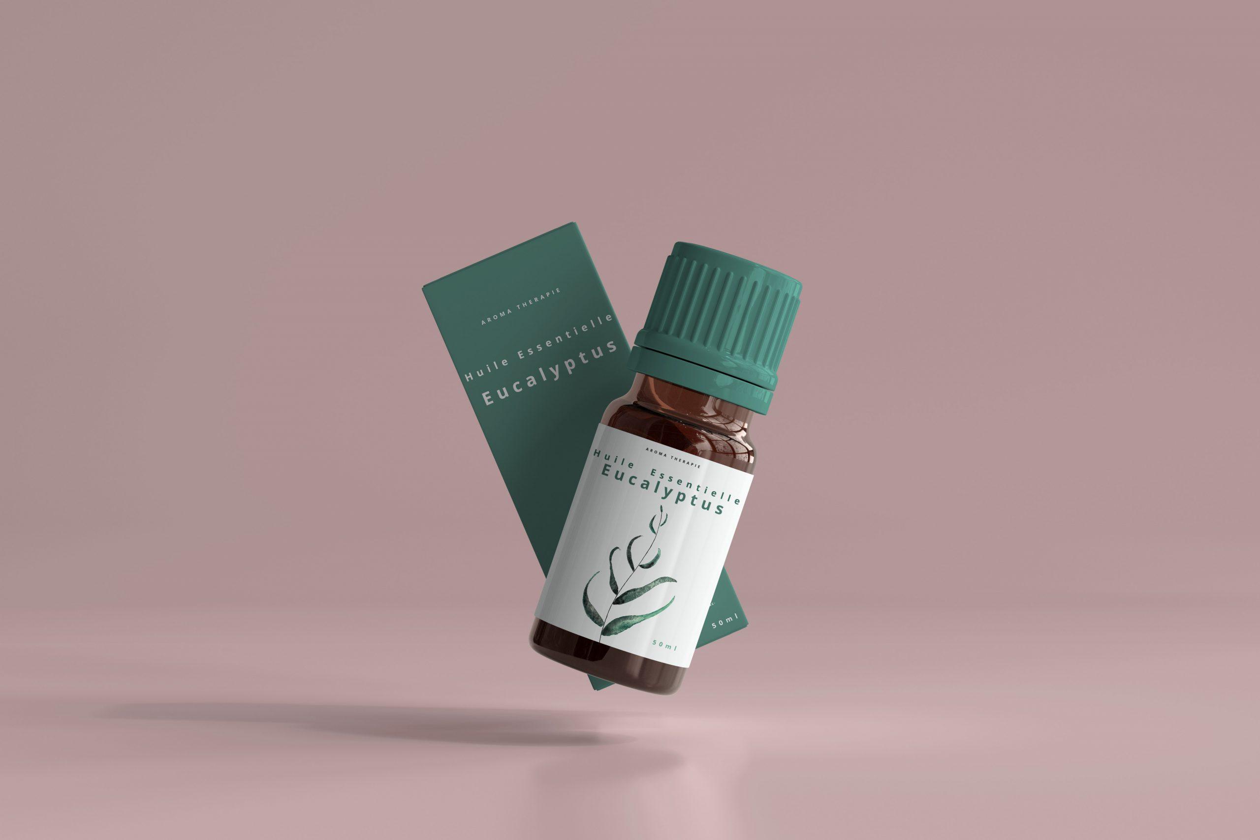 mockup flacon huile essentielle eucalyptus