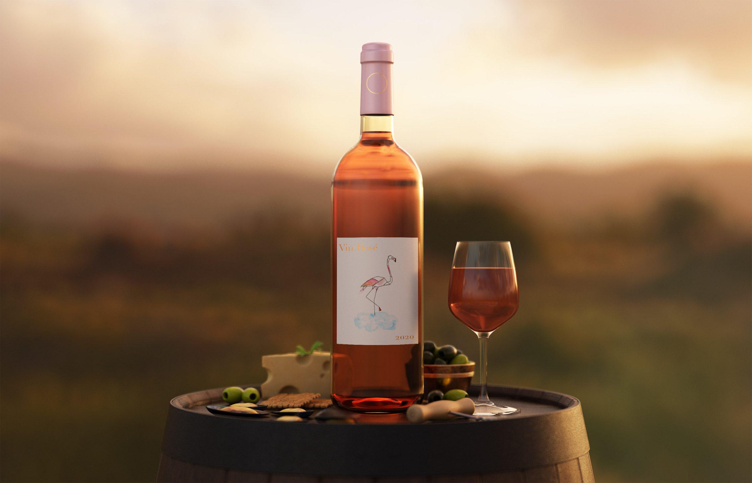 mock up vin rosé