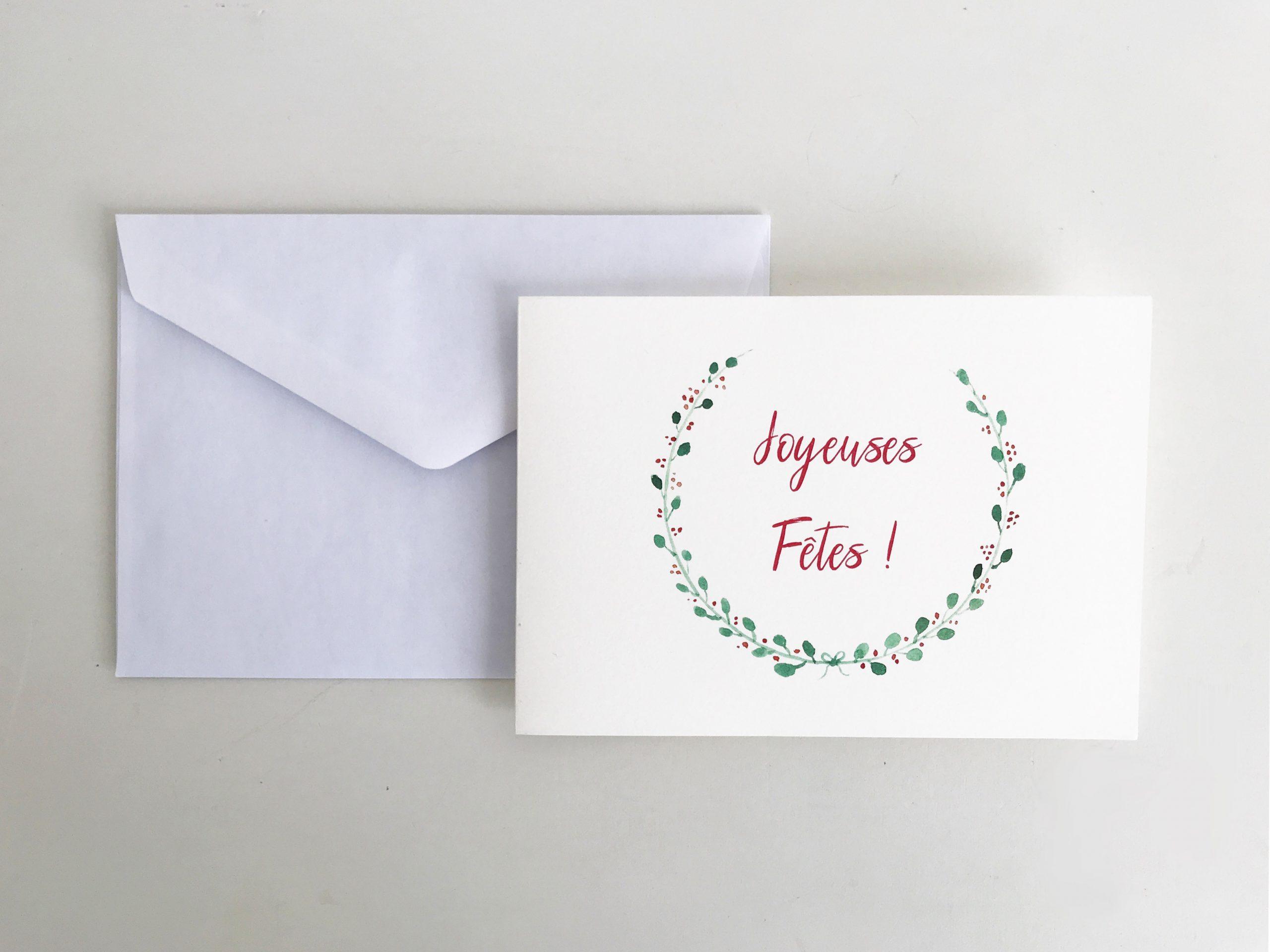carte de voeux couronne de Noel aquarelle et calligraphie joyeuses fêtes