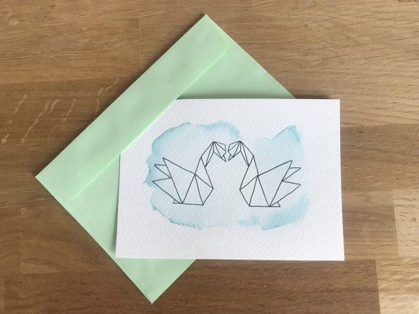 carte postale aquarelle turquoise