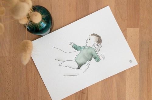portrait personnalisé aquarelle bébé